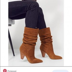 Aldo Brown suede slouchy boots.